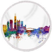 Chicago And Milwaukee Skyline Mashup Round Beach Towel