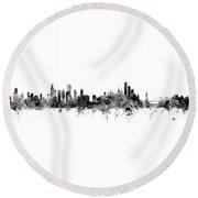 Chicago And New York City Skylines Mashup Round Beach Towel