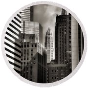 Chicago Architecture - 13 Round Beach Towel by Ely Arsha