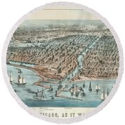 Chicago As It Was 1872 Round Beach Towel