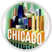 Chicago, Big City, Skyscrapers, Travel Poster Round Beach Towel