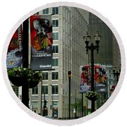 Chicago Blackhawk Flags Round Beach Towel