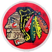 Chicago Blackhawks Hockey Team Vintage Logo Made From Old Recycled Illinois License Plates Red Round Beach Towel by Design Turnpike