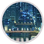 Chicago Bridges Round Beach Towel