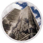 Round Beach Towel featuring the photograph Chicago Building by Zawhaus Photography