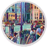 Chicago Cafe Round Beach Towel