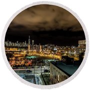 Chicago City And Skyline Round Beach Towel