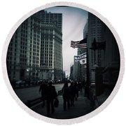 Chicago City Fog Round Beach Towel by Frank J Casella
