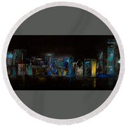 Chicago City Scene Round Beach Towel by Michele Carter