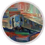 Chicago City Train Round Beach Towel