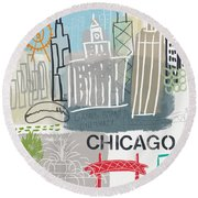 Chicago Cityscape- Art By Linda Woods Round Beach Towel