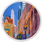 Chicago Cityscape With The Mather Tower Round Beach Towel