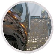 Round Beach Towel featuring the photograph Chicago Cloud Gate. Reflections by Ausra Huntington nee Paulauskaite