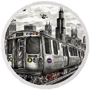 Chicago Cta Train Round Beach Towel