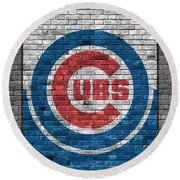 Chicago Cubs Brick Wall Round Beach Towel