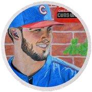 Chicago Cubs Kris Bryant Portrait Round Beach Towel
