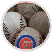 Chicago Cubs World Series Poster Round Beach Towel