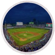 Chicago Cubs Wrigley Field 9 8357 Round Beach Towel by David Haskett