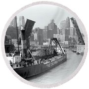 Round Beach Towel featuring the photograph Chicago Draw Bridge 1941 by Daniel Hagerman