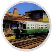 Round Beach Towel featuring the photograph Chicago El Vintage  Cars At Armitage  by Tom Jelen