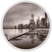 Chicago Foggy Lakefront Bw Round Beach Towel by Steve Gadomski