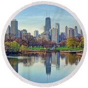 Chicago From Lincoln Park Round Beach Towel