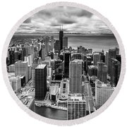 Chicago From The 70th Floor Round Beach Towel