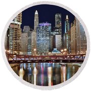 Chicago Full City View Round Beach Towel by Frozen in Time Fine Art Photography