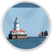 Chicago Harbor Lighthouse And A Tall Ship Round Beach Towel