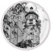 Round Beach Towel featuring the photograph Chicago Historic Water Tower Fog Black And White by Christopher Arndt