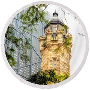 Chicago Historic Water Tower Fog Round Beach Towel