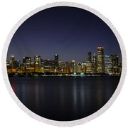 Round Beach Towel featuring the photograph Chicago In Blue by Andrea Silies