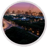Chicago Independence Day At Night Round Beach Towel