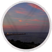 Chicago Lakefront At Sunset Round Beach Towel