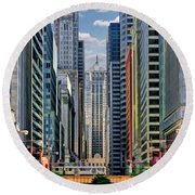 Round Beach Towel featuring the painting Chicago Lasalle Street by Christopher Arndt