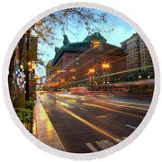 Chicago Lights Hustle Bustle Round Beach Towel