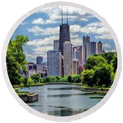 Round Beach Towel featuring the painting Chicago Lincoln Park Lagoon by Christopher Arndt