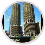 Chicago Marina City - Poster Art Round Beach Towel by Art America Gallery Peter Potter