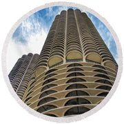 Round Beach Towel featuring the painting Chicago Marina Towers by Christopher Arndt