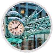 Round Beach Towel featuring the painting Chicago Marshall Field State Street Clock by Christopher Arndt