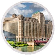 Round Beach Towel featuring the painting Chicago Merchandise Mart by Christopher Arndt