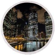 Chicago River And Night Skyline Round Beach Towel