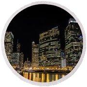 Chicago Night Skyline From Wolf Point Round Beach Towel