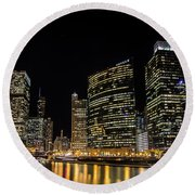 Chicago Night Skyline From Wolf Point Round Beach Towel