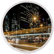 Chicago Nighttime Time Exposure Round Beach Towel