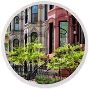 Round Beach Towel featuring the painting Chicago North Shore Greystones by Christopher Arndt