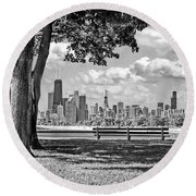 Round Beach Towel featuring the photograph Chicago North Skyline Park Black And White by Christopher Arndt
