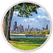 Round Beach Towel featuring the painting Chicago North Skyline Park by Christopher Arndt