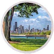 Chicago North Skyline Park Round Beach Towel
