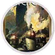 Chicago Railway, Steam Trains Round Beach Towel